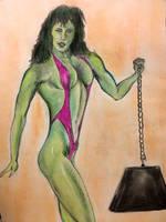 She-Hulk fan art pastel drawing 1995 by csuhsux