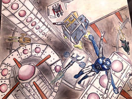 Micronauts by Mego fan art water colors 1997 by csuhsux
