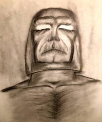 Darkseid of Apokolips Charcoal drawing 1994