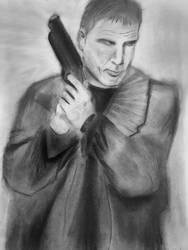 Rick Deckard Blade Runner charcoal drawing 1994