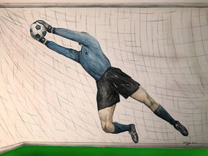 Goal Keeper Save water colors 2002