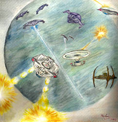 DS9 Dominion War water color painting 2002