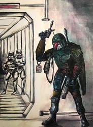 Boba Fett vs Storm Troopers fan art from 1996