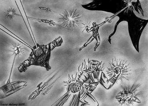 Galadorian spaceknights vs Dire Wraith warships