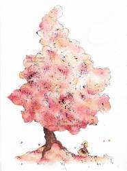 Fluffly peach tree