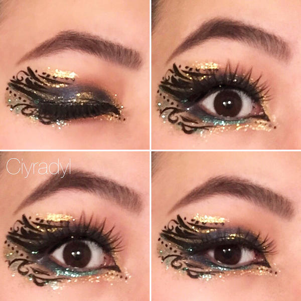 Abstract Blue And Gold Glitter Makeup By Ciyradyl On Deviantart