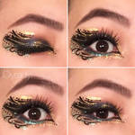 Abstract blue and gold glitter makeup