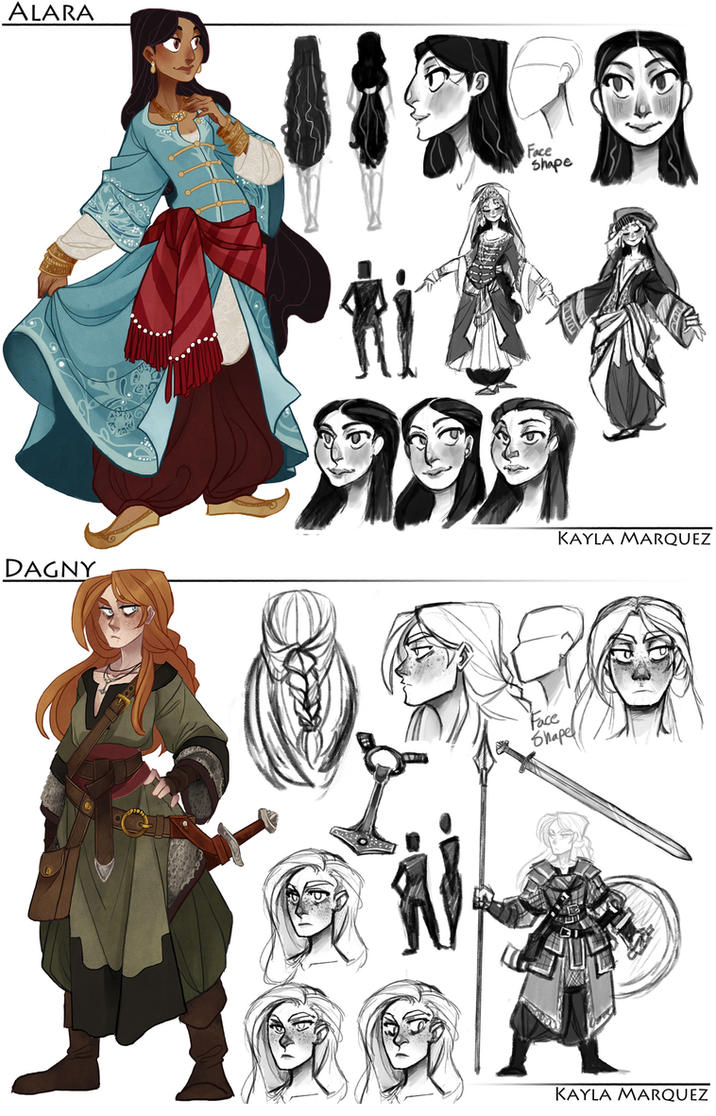 Character Design Work : College work alara and dagny designs by the orator on