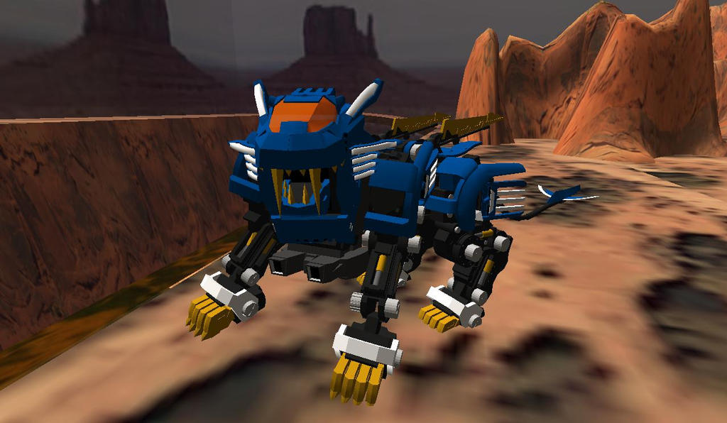 ZOIDS in Second Life 06 - Blade Liger blades up by GreatDragonSeiryu