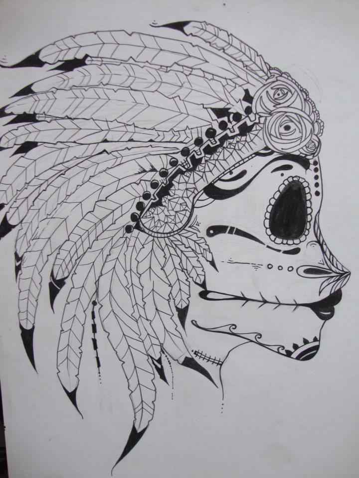Native Sugar Skull By Oceangrownkreations
