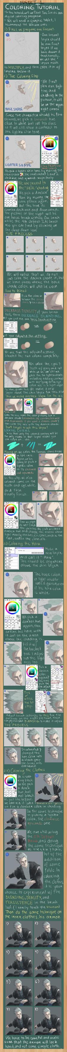 Coloring/Finishing Tutorial (SAI) PART 1 by midorynn