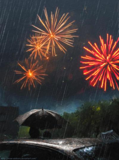 Fireworks under rain by Miaw-Asakura