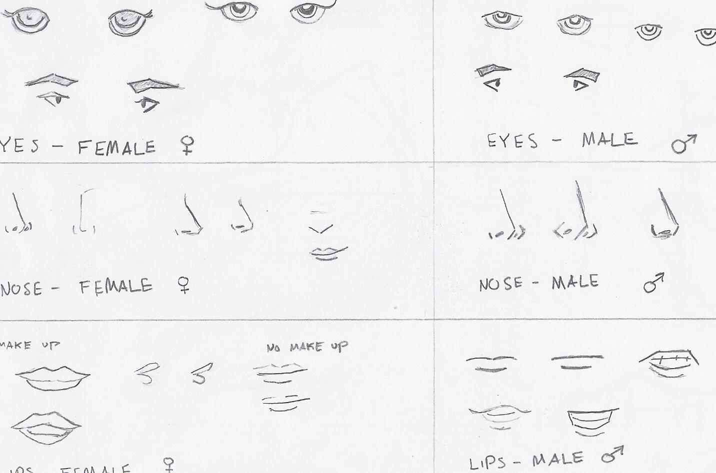 Anime facial features