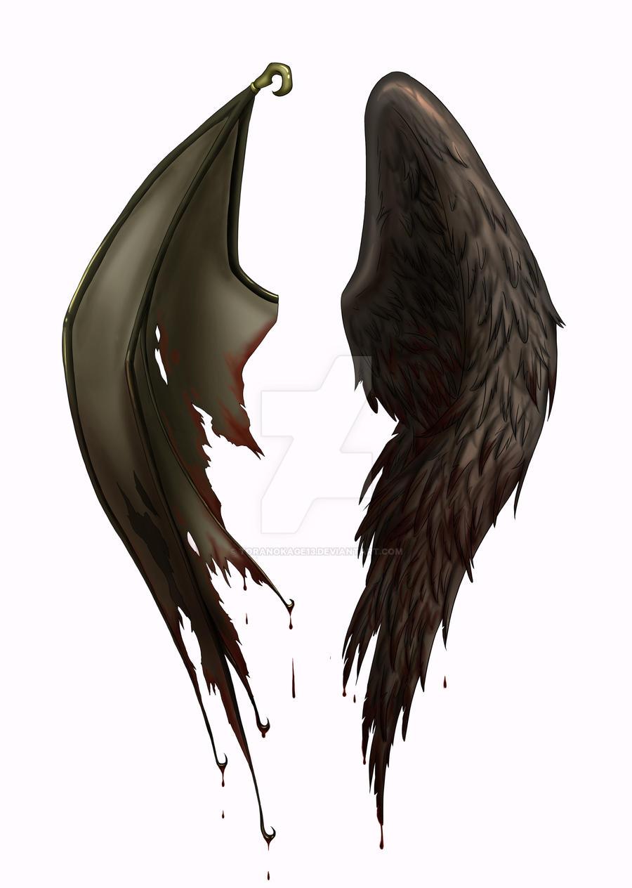 angel demon wing tattoo design by toranokage13 on deviantart. Black Bedroom Furniture Sets. Home Design Ideas