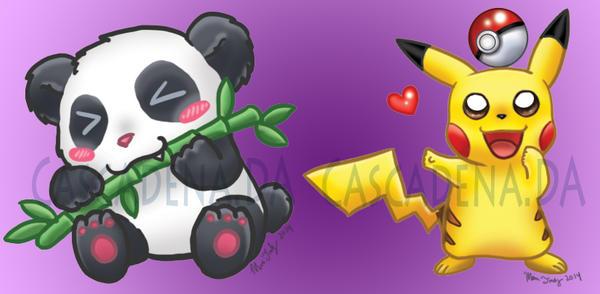 CM Chibi Panda And Pikachu By Cascadena