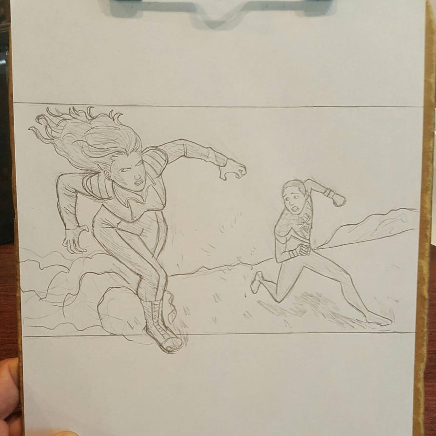 Ultimate Spider-Man Miles Morales vs Giant Woman by Obiosborn