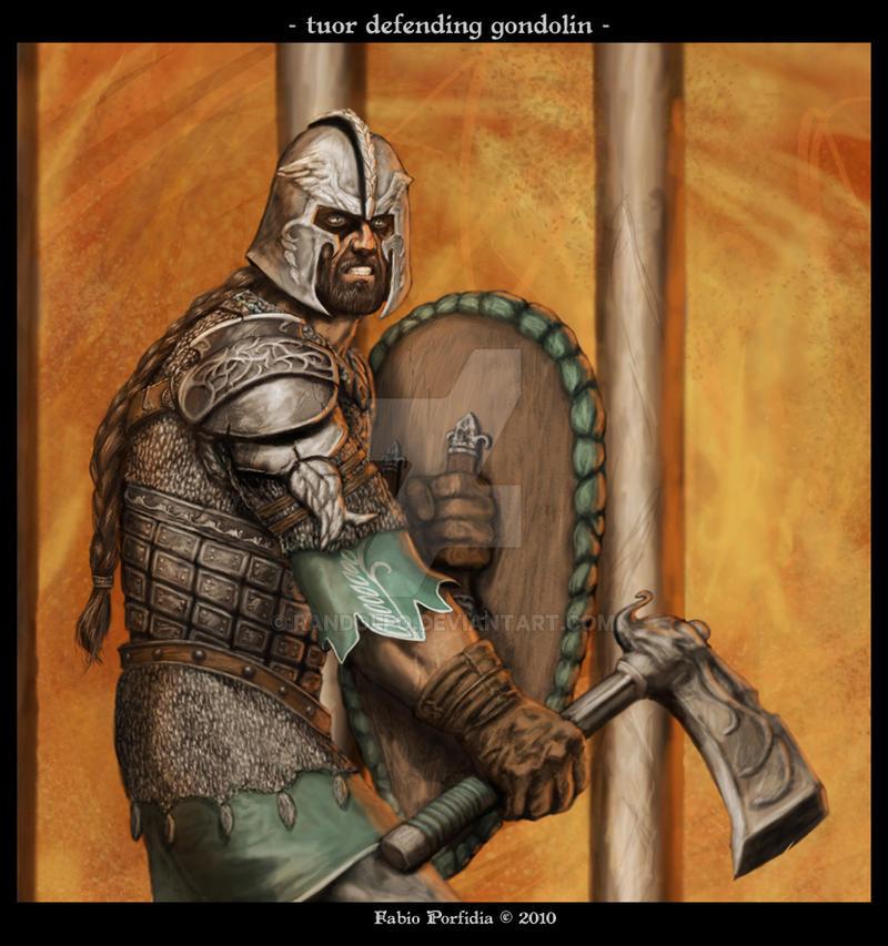 Tuor defending Gondolin by randolfo