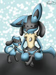 Lucario and Riolu - evolution line  (drawing)