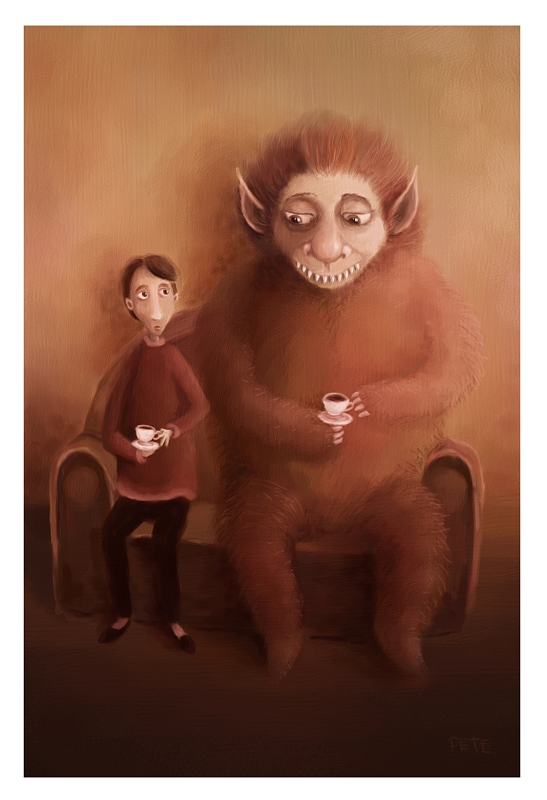 a Cup of Tea with a Monster by pesare