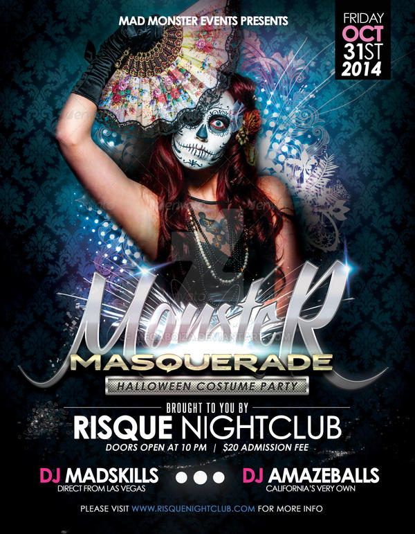 Monster Masquerade Halloween Party Flyer Template By Megaboiza On