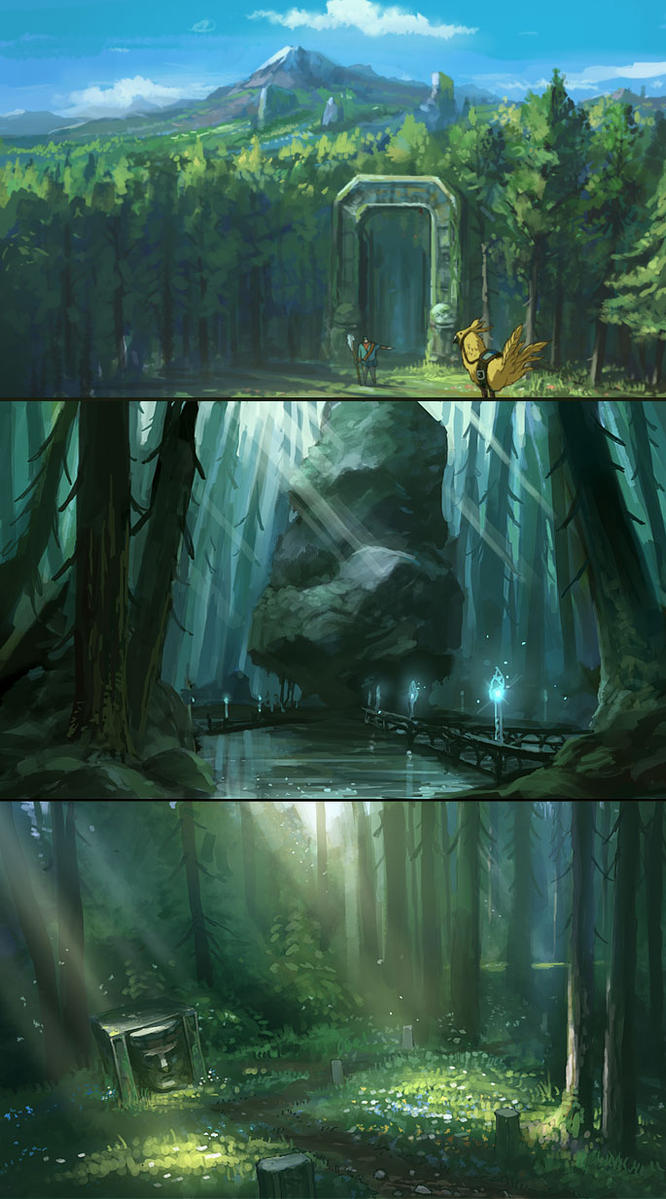 forrest environment sketches by Tonyholmsten