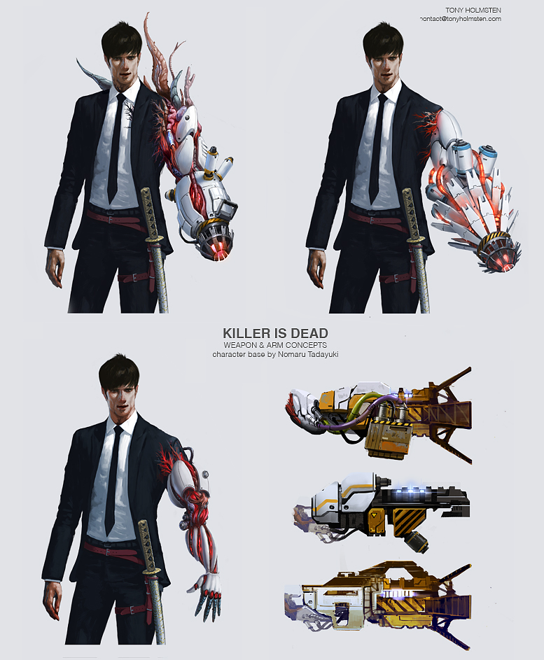 killer is dead weapon concept art by Tonyholmsten