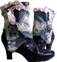 Denim Letter Spats by MAIDESTREASURIES