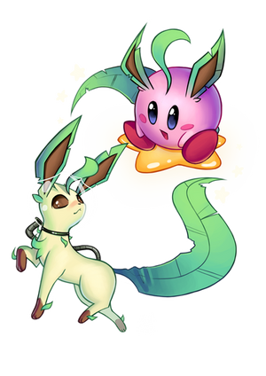 Leafeon + Kirby by Lushies-Art