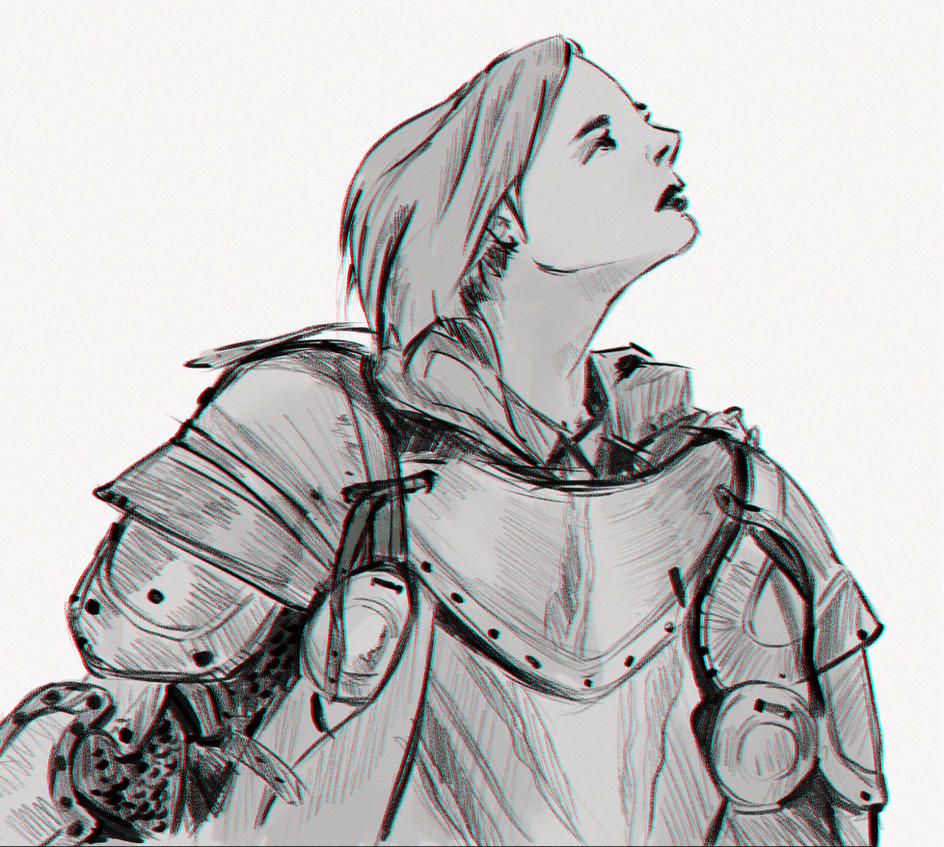 warrior girl sketch by MatteoAscente