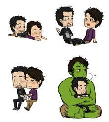 Tony + Bruce - doodlepile by rabbitzoro