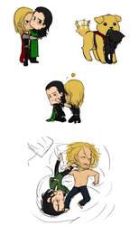 Thor+Loki - doodle pile (minor Avengers spoilers?) by rabbitzoro