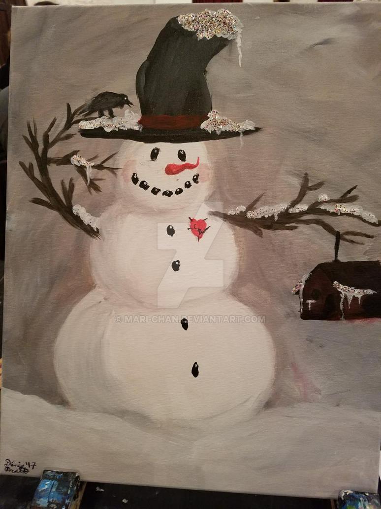 Snowman painting by mari-chan