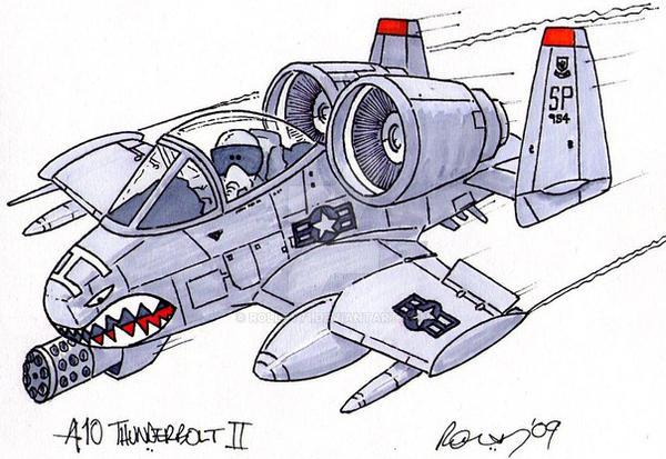 A 10 Thunderbolt Drawing A10 Warthog by rollsy7...