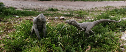 sculpts on location.