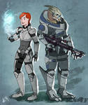 Commission: Ellie Shepard and Garrus 2