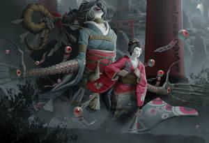 Shikigami: Dodomeki - Geisha Illustration