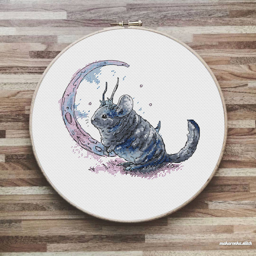 Chinchilla Moon - Cross Stitch pattern by MakaronkaStitch on