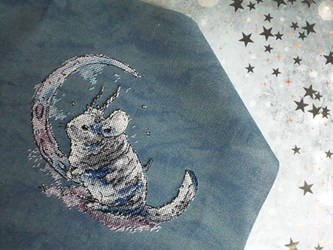 Chinchilla Moon - Cross Stitch Embroidery by MakaronkaStitch