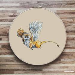 Owl Gryphon Cross Stitch Pattern
