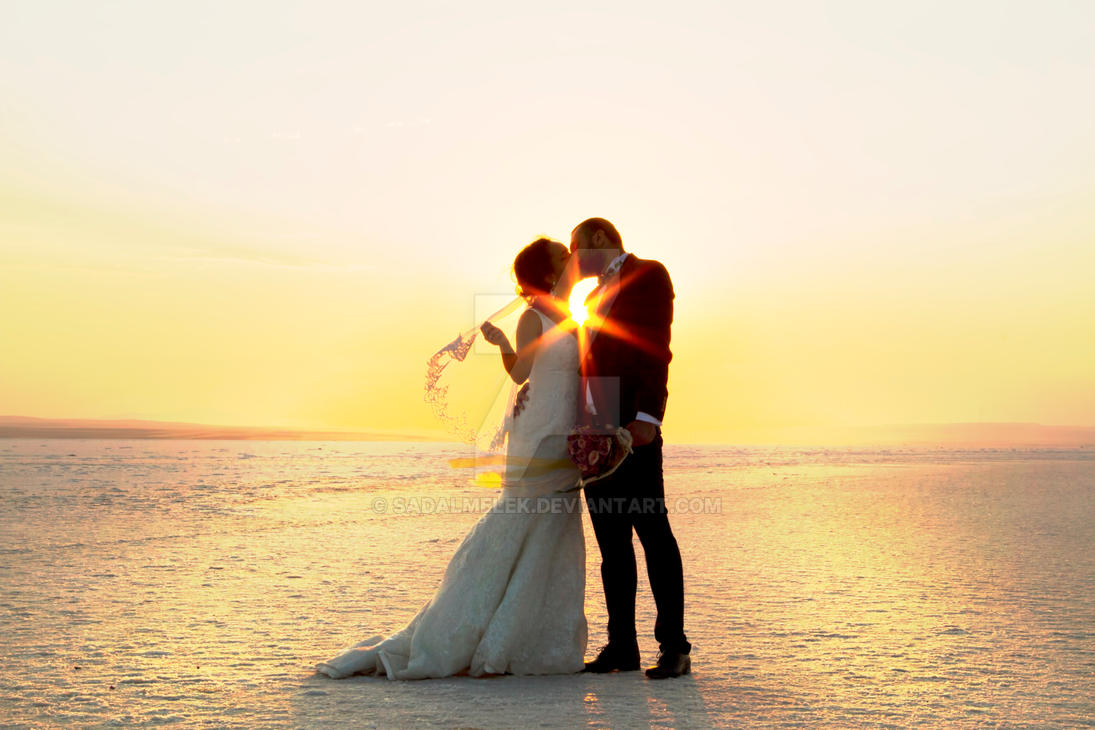 Bride and Groom at Sunset by Sadalmelek