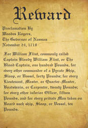 Captain Bloody William Flint 's Wanted poster