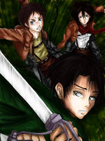 Levi, Eren and Mikasa by SweetRedArt