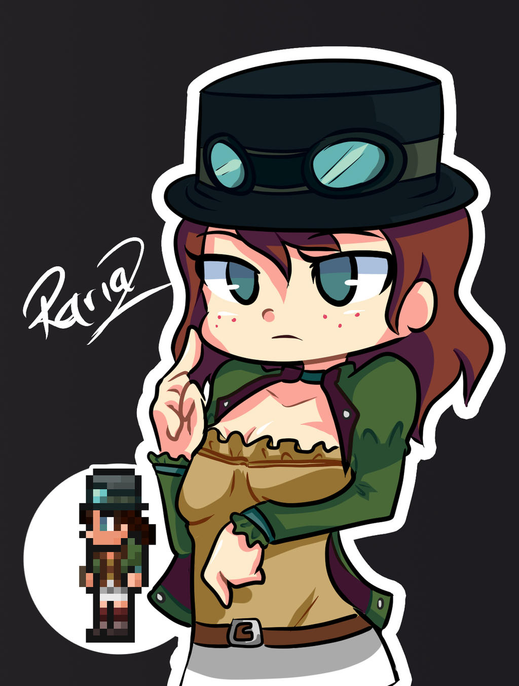 Anime Characters In Terraria : Steampunker terraria jaltoid style by rariaz on deviantart