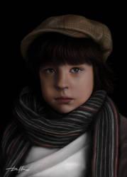 Boy with Scarf - Digital Painting by denjay5