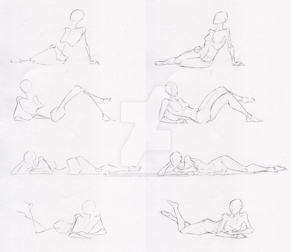 Sketches 50 - Woman laying-sitting practice by Azizla