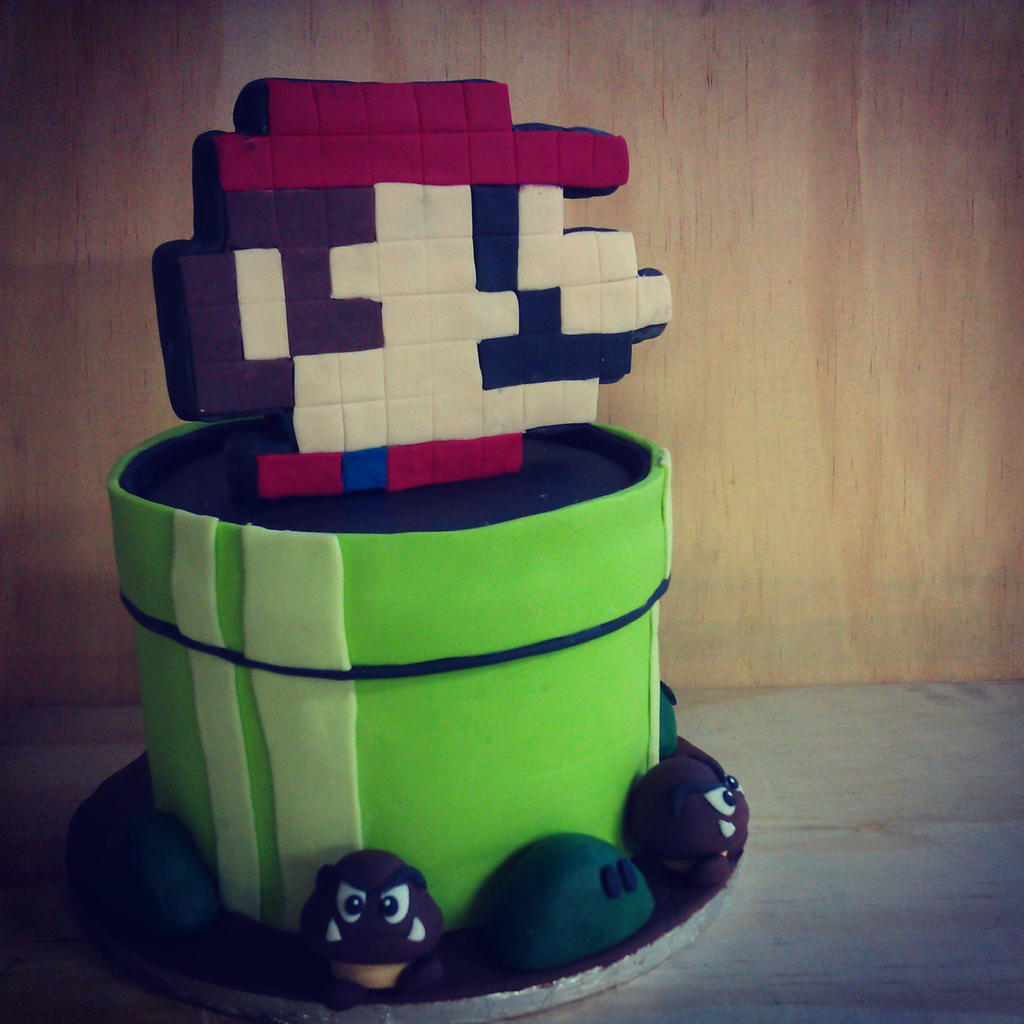8-Bit Mario Cake with Goombas by I-am-Ginger-Pops