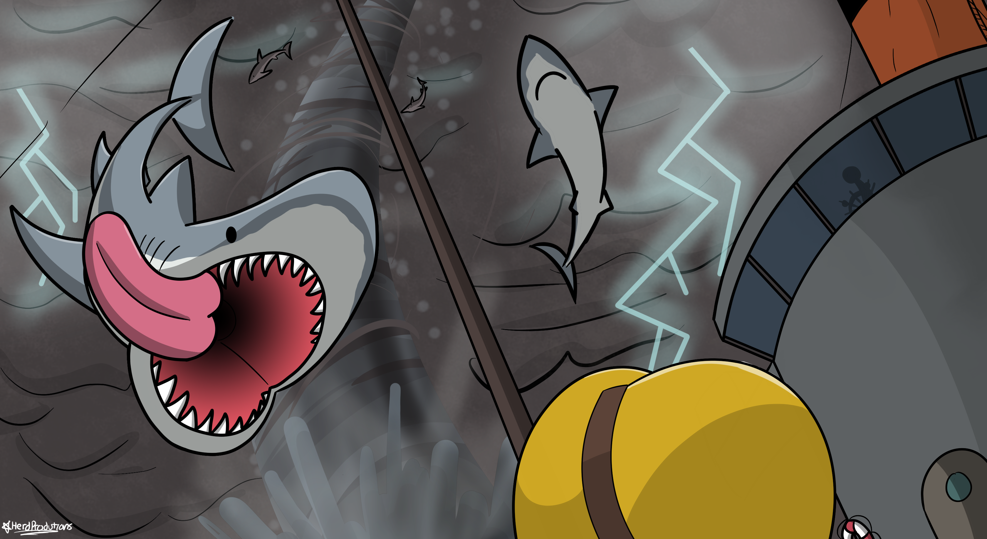 A Vortex of Sharks?!?!?! by AWellDressedMoose