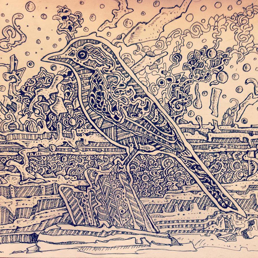 Abstract bird drawing by NikitaGrabovskiy