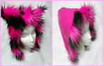 Reversible pink and black striped cat hat with fur by kawaiibuddies