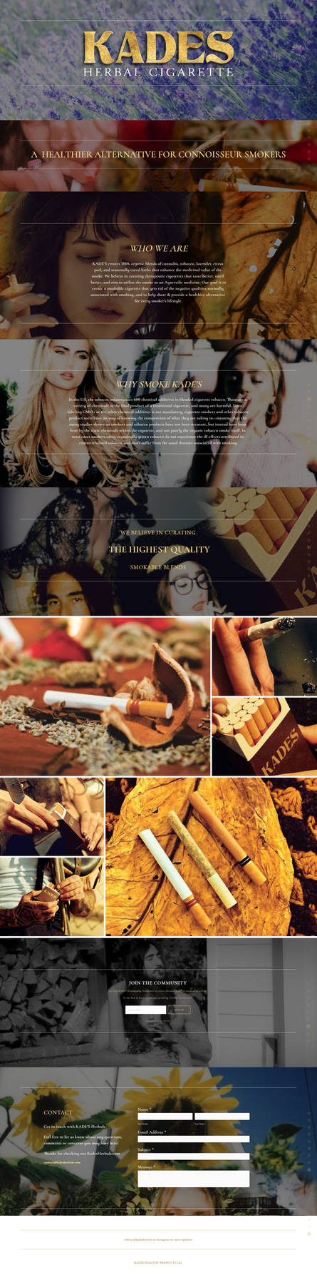 KADES HERBAL CIGARETTE WEBSITE SNAPSHOT by ZelnickDesigns